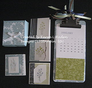 Note Cards with Box and Clipboard Calendar