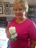 Floral Candle door prize winner Kathi Williams